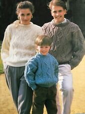 Knitting Pattern - Aran Cable Knit Sweater Jumper Men's Women's Child's 0044