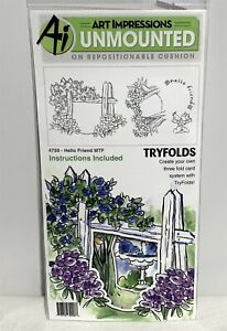 Art Impressions HELLO FRIEND Tryfolds Fence Flowers Cling Rubber Stamps Dies Set