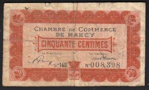 1918 50 Centimes Nancy France Vintage Emergency Paper Money Banknote Currency F