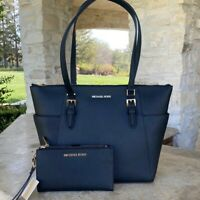 NWT Michael Kors Large Charlotte Top Zip Tote handbag leather / wallet Black