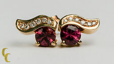Women's 14K Yellow Gold Pink Tourmaline (2.0 cts) & Diamond Earrings