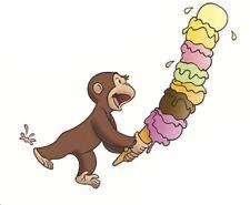 5 pollici Curious George Adesivi Murali Scimmietta Cono Gelato Adesivo in vinile rimovibili
