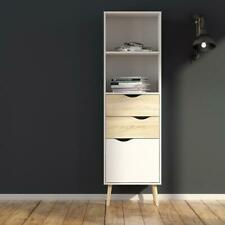 Oslo Bookcase 2 Drawers 1 Door in White and Oak Modern Furniture