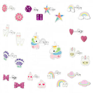 Silver Earrings Studs Kids Girls Women Unicorn Rainbow Heart Shell Star Emoji