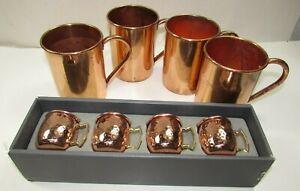 4 Copper Mule Mugs & Moscow Mule Shot Glass Set in Box