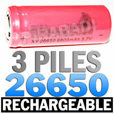 3 PILES ACCUS RECHARGEABLE BATTERIE 26650 6800mAh 3.7V Li-ion BATTERY