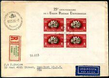 UNGARN 1949 BLOCK18A FDC -R BRIEF in die USA 750€(S7946