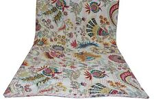 Kantha Throw King Size Quilt Indian Cotton Handmade Blanket Crazy White