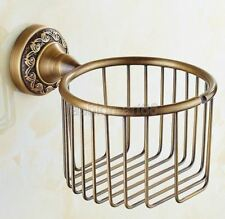 Antique Brass Carved Toilet Paper Roll Holder Bathroom Wall Mounted fba485
