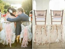 Bride & Groom Burlap Chair Banner Chair Sign Rustic Wedding Party Decoration