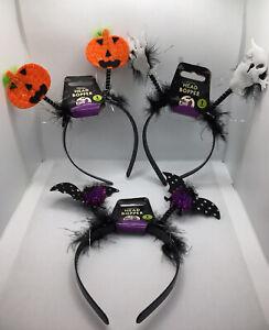 Halloween Head Bopper Pumpkin Ghost Bat Party Fancy Dress Headband Adult Kids UK
