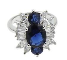 18K White Gold Filled Blue Sapphire Cocktail Ladies Ring size 7 di