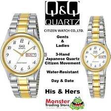 HIS AND HERS Q&Q DRESS WATCH CITIZEN MADE BB16-404, BB17-404 DAY & DATE COMBO