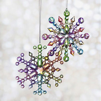 """5.2"""" MULTI COLOR IRIDESCENT SNOWFLAKE ORNAMENTS SET OF 2 Adler T2470 CHRISTMAS"""
