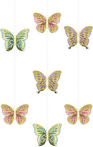 3 x Pretty Butterfly Shimmer Gold Foil & Pastel Hanging Decorations