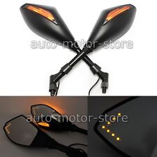 BLACK MOTORCYCLE LED INTEGRATED TURN SIGNALS MIRRORS CRUISER SCOOTER MOTORBIKE