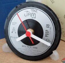 THE JAM PAUL WELLER RECORD CENTRE LABEL CLOCK Desk / Side Table + Display Stand