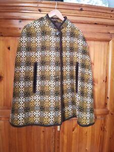 Welsh Wool Tapestry Anna Davies Poncho Coat M-L 14-16