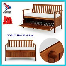 Wooden Garden Bench Storage Chest 2 Seater Cabinet Loveseat Patio Deck Furniture