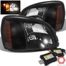 Fits 00 01 02 03 04 05 Cadillac Deville Headlights (Black) + 6000K Xenon HID Kit
