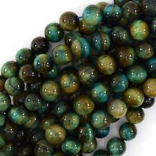 Green Blue Tiger Eye Round Beads Gemstone 15