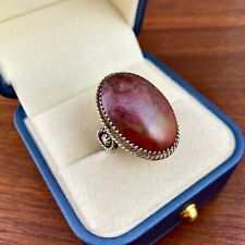NATIVE AMERICAN STERLING SILVER PETRIFIED WOOD RING - SIZE 8