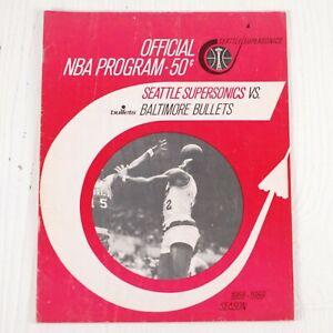 Seattle Supersonics Vs Baltimore Bullets NBA 1968-69 Game Program