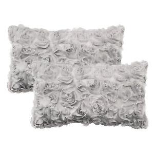 "2Pcs Solid 3D Stereo Chiffon Rose Flower Bolster Pillows Shells Sofa Home 12x20"""
