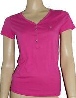 Guess Shirt XS Kurzarm 100% Pima Baumwolle Hot Pink Strass Glitzer Luxus