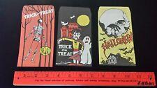 3 Vintage Trick or Treat Bags pumpkin skeleton skull haunted house vampire ghost