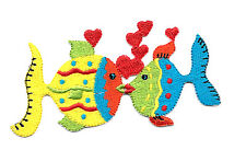 Fish - Love - Heart - Embroidered Iron On Applique Patch