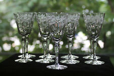 Gorgeous, Cut/Engraved Glass Cordial/Port Glasses (9)  Rock Sharpe