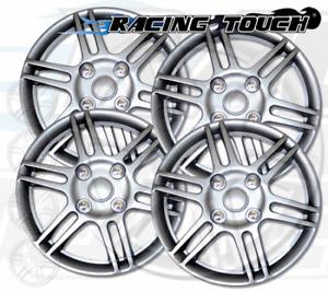 "Wheel Cover Replacement Hubcaps 14"" Inch Metallic Silver Hub Cap 4pcs Set #004"