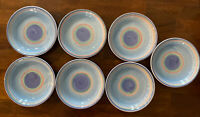 """Set of 7 CALECA 8 1/2"""" Cereal-Soup Bowls~Italy~Striped~Hand Painted~Vintage"""