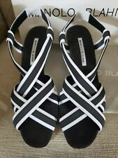 Manolo Blahnik Size 38.5 (US size 7.5) Wedge Sandals, Black Made In Italy 👠