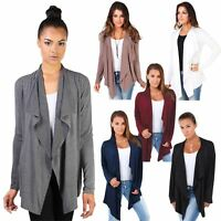 Womens Ladies Cardigan Asymmetric Hem Waterfall Jersey Long Sleeve Shrug Top