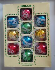 VINTAGE BOX OF 10 HOLLY MERCURY GLASS CHRISTMAS ORNAMENTS - GLITTER DECORATIONS