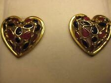 18k YELLOW GOLD HEART EARRINGS W/RUBY & SAPHIRE STONE # 4-0112