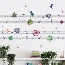 Music Notes Birds Flowers Butterflies Stave Wall Sticker Nursery Decal Art Decor