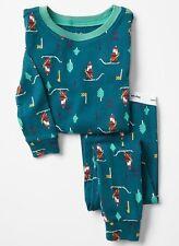 NEW Baby GAP Boys 6-12 mos Santa Cotton 2-Piece Pants Pajamas