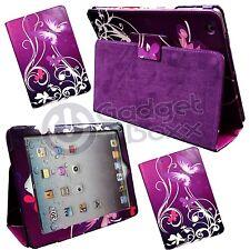 para Apple iPad 2 , 3 , 4 Mariposa Púrpura Blanco espirales Funda cuero de pu