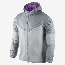 NIKE STAY DRY CYCLONE MENS TRACK PACKABLE RUNNING JACKET XL GREY PURPLE 519734