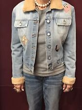 Bluemarine Embellished Jean Jacket in Blue w/ Fur Collar & Cuffs -- Size 40