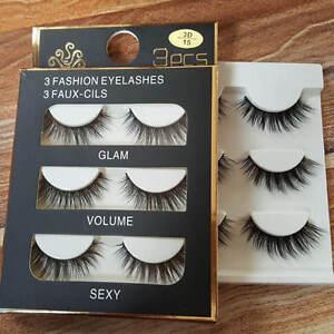 3 Pairs Black Real Mink Hair Black Thick Long False Fake Eye Lashes Eyelashes HQ