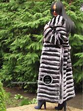 Luxe Chinchilla Rex Fourrure Long Manteau Capuche Ceinture Pelzmantel RRP 10,900 EUR 2017 NEUF