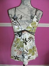 JANE NORMAN Beige green cream FLORAL STRETCH  V NECK  summer party TOP 12 10