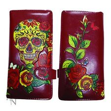 SUGAR CANDY SKULL ROSE RED DAY OF THE DEAD TATTOO GOTH VEGAN PURSE NEMESIS  GIFT