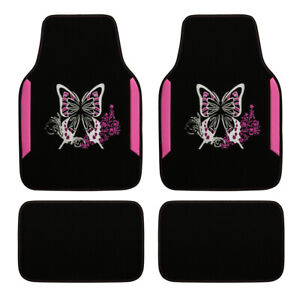 Car Floor Mats Universal Embroidery Pink Butterfly 4 PCS Anti-slip Comfortable