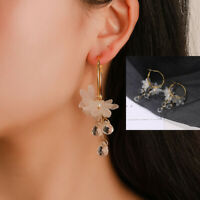 New Crystal Rhinestone Flower Tassel Ear Stud Long Dangle Drop Fringed Earrings