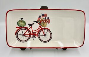 Patriotic Summer Tray Plate Red Bicycle USA Flag Stoneware MaryThompson 12 X 6